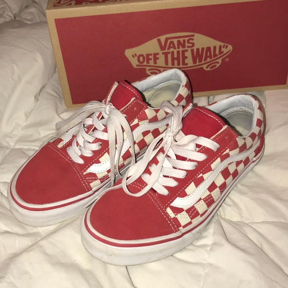 Vans Shoes Old Skool Red White Checkerboard Skate Poshmark